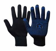 Перчатки х/б с ПВХ, черные (5 нитей)